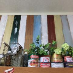 板壁ペイント/フェイクグリーン/空き缶/セリア/ナチュラルキッチン/空き瓶 天井近くの板壁、い・ロ・イ・ろに、ペイン…