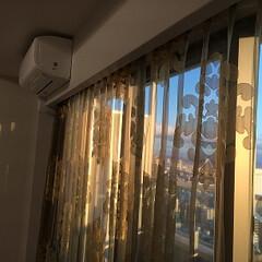 オーダーカーテン 大きな、柄のレースです。 大きな窓に映え…