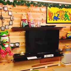 板壁/壁面DIY/テレビ台/ディアウォール/DIY/雑貨 壁面DIY♪ ディアウォールで柱を立て、…