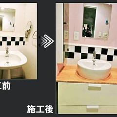 クロス/IKEA/洗面台/リノベーション 収納たっぷりIKEA洗面台の交換工事