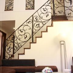 ロートアイアン/アイアン/特注/オリジナル/おしゃれ/階段手摺/... 曲線とリーフ装飾が素晴らしい「アイビィ …