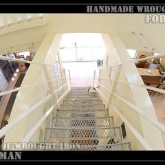 ローアイアン/アイアン/特注/階段/階段フェンス/手摺/... おしゃれな特注ロートアイアン製 階段手摺…