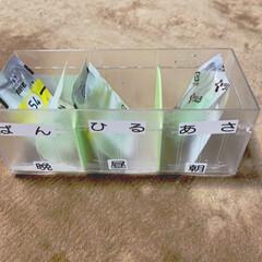 ラベリング/薬の管理/薬の収納/100均/オムツ交換 1日分の薬の収納です。 1週間分を管理す…