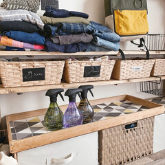 洋服収納/子ども部屋DIY/子ども部屋/リミアの冬暮らし/100均/DIY/... ファブリーズナチュリスを置いてる 木のト…