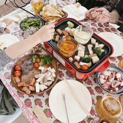 ブルーノ/アヒージョ/チーズフォンデュ/暮らしを楽しむ/2018/おうち/... お友達のおうちで忘年会♫  ブルーノで、…