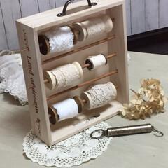 ダイソー/セリア/木箱/ストレージボックス/リメイク/糸巻き とても簡単に出来る糸巻きストレージボック…
