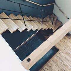 ロブスクエア/lobesquare/デザイン階段/吹き抜け/ストレートタイプ/青い壁/... シックな雰囲気です。壁と踏み板の色合いが…