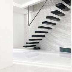 ロブスクエア/lobesquare/階段/デザイン階段/注文住宅/デザイナーズ住宅/... 浮遊感のある片持階段、踏板をブラックのピ…
