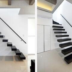 階段/リノベーション/不動産・住宅/デザイン階段/浮遊感/ロブスクエア/... 広々としたリビングに宙を浮いたように見え…