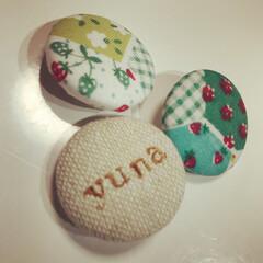 くるみボタン/雑貨/100均/ハンドメイド 娘用にと初めてくるみボタン作ってみました…