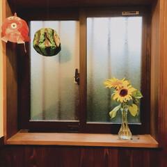 夏インテリア 金魚とスイカの紙風船。 古民家風な我が家…
