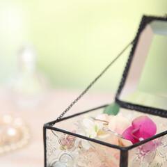 ガラスケース/ジュエリーケース/アクセサリー/アクセサリー入れ/プレゼント/贈り物/... ガラス張りが美しいアンティーク調のジュエ…