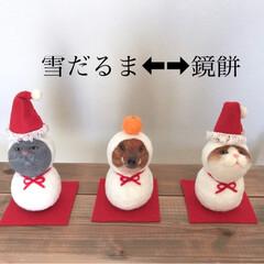 鏡餅/羊毛フェルト/雪だるま/お正月飾り/お正月/猫/... 羊毛フェルトの2wayの季節飾りです。 …(1枚目)