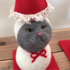 鏡餅/羊毛フェルト/雪だるま/お正月飾り/お正月/猫/... 羊毛フェルトの2wayの季節飾りです。 …(2枚目)
