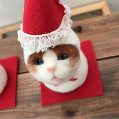 鏡餅/羊毛フェルト/雪だるま/お正月飾り/お正月/猫/... 羊毛フェルトの2wayの季節飾りです。 …(6枚目)
