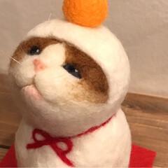 鏡餅/羊毛フェルト/雪だるま/お正月飾り/お正月/猫/... 羊毛フェルトの2wayの季節飾りです。 …(7枚目)