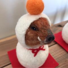 鏡餅/羊毛フェルト/雪だるま/お正月飾り/お正月/猫/... 羊毛フェルトの2wayの季節飾りです。 …(5枚目)