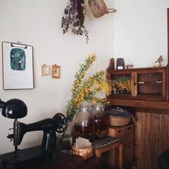 暮らしのキロク/木の家/ミモザ/古いミシン台/西淑さんのカレンダー/インテリア/... 今日から今週もSTART♥︎ 部屋の一角…