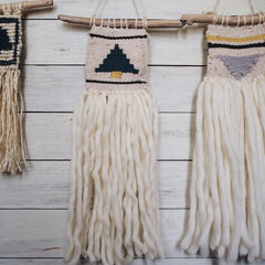 木のモチーフ/オリジナルデザイン/マクラメ編み/ハンドメイド/タペストリー/雑貨 最近つくった タペストリーを並べてみまし…