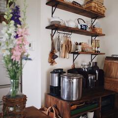 キッチン/インテリア/古民家風/レトロ/お花のある暮らし/フラワー/... 旦那さんがお花を 持って帰ってくれたので…