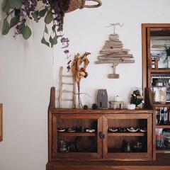 ドライフラワー/セリア/小棚/漆喰/流木リメイク/流木タペストリー/... 我が家のクリスマスインテリア🎄 流木で流…