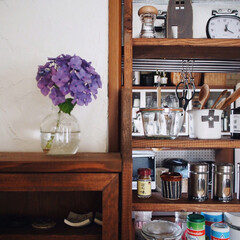梅雨/漆喰壁/スパイスラックDIY/紫陽花/お花のある暮らし/キッチン雑貨/... 我が家の庭に綺麗な紫陽花が 最近たくさん…