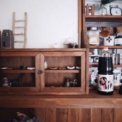 賃貸インテリア/インテリア/interior/小棚DIY/キッチンカウンター/調味料/... 最近、旦那さんの実家から 大きなかけ醤油…
