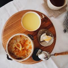 コーンポタージュ/柚子大根の漬物/oisix/ミートドリア/カリフライス/ヘルシーレシピ/... お昼ご飯☺️⚐⚐ oisixさんのカリフ…