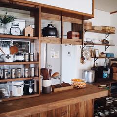お気に入りの場所/DIY/スパイスラックDIY/キッチン/キッチンカウンターDIY/キッチン雑貨/... キッチンで1番お気に入りなのが このキッ…