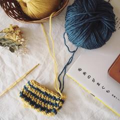 休日/がま口ポーチ/毛糸/編み物/秋/100均/... 編み物も楽しい時期になってきましたね☺️…
