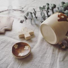 ユーカリ/暮らしのキロク/箸置き/マグカップ/うつわ/作家さんの器/... ひつじのてしごとさんの マグカップと箸置…