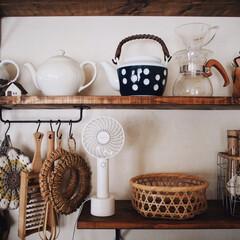 キッチン用品/レトロ/古民家風/カゴ/急須/漆喰壁/... 先日、暑くなるであろう夏用に 手持ち扇風…