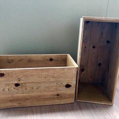 ワトコオイル/野地板/収納/木箱/りんご箱/DIY 何かと便利なりんご箱。 買うと意外と高か…