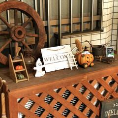 木製車輪/ハロウィンディスプレイ/室外機カバー/玄関ポーチ/ハロウィン2019/DIY ハッピーハロウィン🎃 玄関ポーチの室外機…