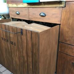 洗濯グッズ収納/ゴミ箱隠し/引き出し/収納/ベランダ/DIY/... 以前DIYしたベランダ収納。 ・ゴミ箱隠…