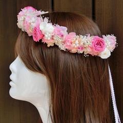 プリザーブドフラワー/花冠/髪飾り/髪留め/ハクレイ/ピンク系/... ~プリザーブドフラワーの花冠~♪ ★オー…