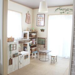 カラーボックスリメイク/カラーボックス/ままごとカフェ/ままごとキッチンDIY/ままごとキッチン/DIY/... 我が家のリビング横のキッズルーム。ままご…