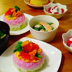 ちらし寿司/ひな祭り/フード ひな祭りのちらし寿司ケーキを作りました!…