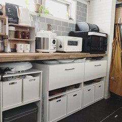 カフェ風インテリア/北欧インテリア/セルフリノベーション/DIYTILE/すっきり暮らしたい/暮らしを整える/... こんばんわ☆ キッチンカウンター下の棚の…