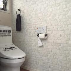 インテリア/レンガ柄/ホワイトブリック/北欧インテリア/ビフォーアフター/トイレ/... こんにちは。 おうち時間にトイレの壁紙を…