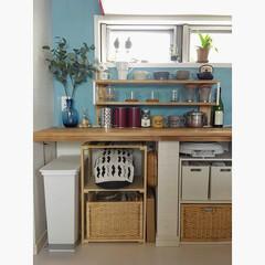 家事動線/日々の暮らし/ゴミ箱/収納/見せる収納/インテリア/... こんばんわ。 キッチンカウンター下の収納…