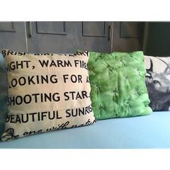 模様替え/マイホーム/グリーンのある暮らし/観葉植物/グリーン/カフェ風インテリア/... ニトリで可愛いクッションカバーを見つけま…(2枚目)