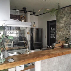 原状回復/模様替え/スタンドライト/フェイクグリーン/緑のある暮らし/男前インテリア/... こんばんわ☆ キッチンカウンターを木材に…
