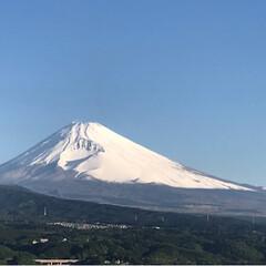 新緑の季節/富士山/令和の一枚/至福のひととき/風景/おでかけワンショット 今朝の富士山🗻 晴れ渡った空、ちょっと冷…