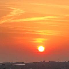 夕陽 職場の屋上から