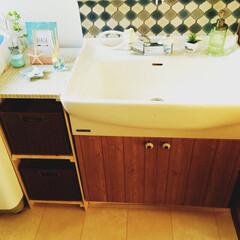 リメイクシート/すのこ/洗面所/DIY/雑貨/100均/... 我が家の洗面所(๑˃̵ᴗ˂̵) 洗面台の…