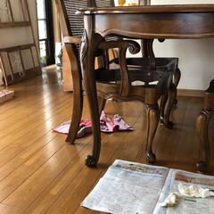 ホワイトインテリア/ダイニングテーブルセット/古いダイニングテーブルセットをリフォーム/シャビー加工/椅子座面張り替え/ダイニングテーブル補修/... 古ーいダイニングテーブルを補修しました。…(6枚目)