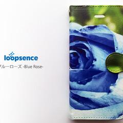 iPhone/スマホケース/スマホカバー/手帳型スマホケース/バラ/オリジナルスマホケース/... 青いバラを描いたデザインのオリジナル手帳…