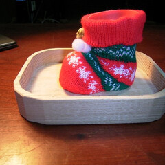 クリスマス/刳り物/わがた盆 ご飯論法によれば 枡は刳ったけど盆は刳っ…