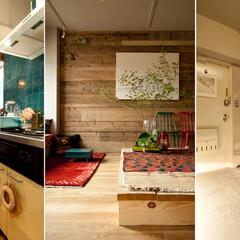 個人邸リノベーション 玄関は仕事部屋を通して自然光が入る様、間…